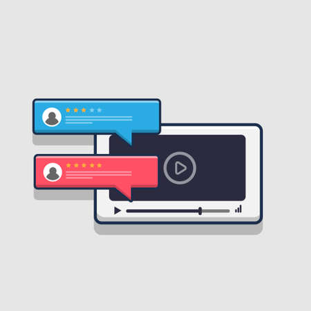 design illustration reviews video viewers on the web. flat cartoon style