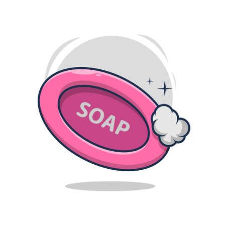 bath soap with foam illustration design