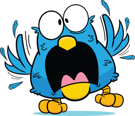 Cartoon blue bird in a frantic panic, feathers flying. Illustration