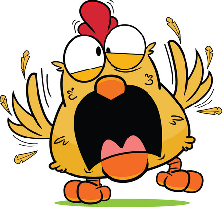 Cartoon brown chicken in a frantic panic, feathers flying. 矢量图像