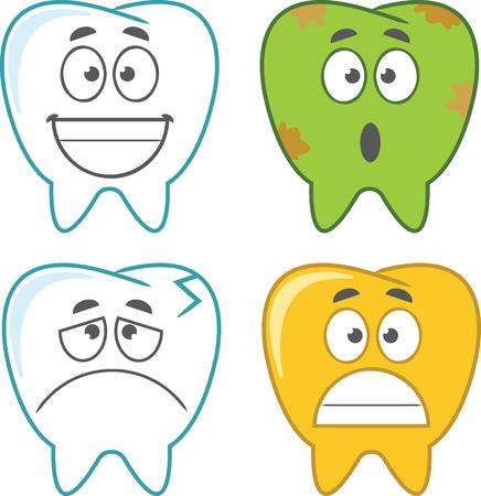 dientes caricatura: Conjunto de dientes de la historieta del vector. Vectores