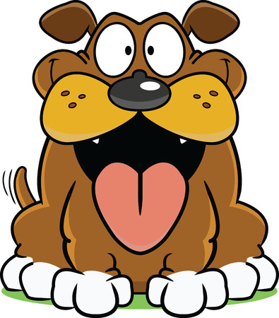 Happy cartoon dog with a big tongue hanging out.  矢量图像