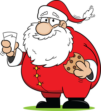 christmas cookie: Cartoon Santa Claus snacking on some cookies and milk.