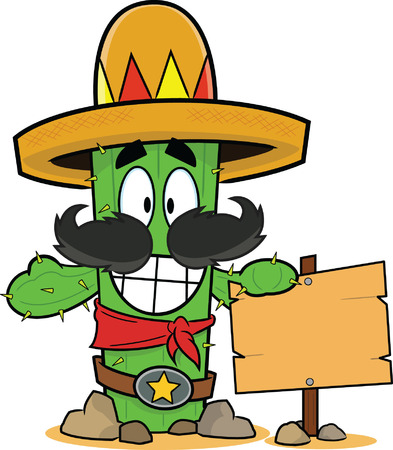 Cartoon cactus wearing a sombrero, leaning against a sign