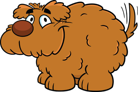 mutt: Cute fluffy cartoon vector dog, smiling with tailing wagging.