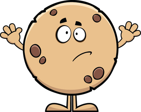 Cartoon illustration of a guilty looking cookie.