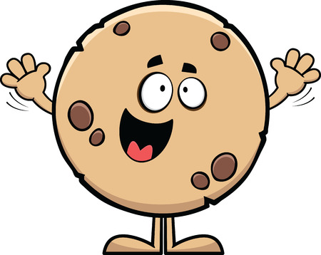 chocolate chips cookies: Cartoon illustration of a cookie with a happy expression.