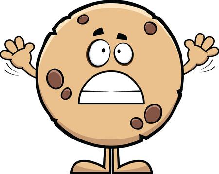 Cartoon illustration of a cookie with a worried expression.