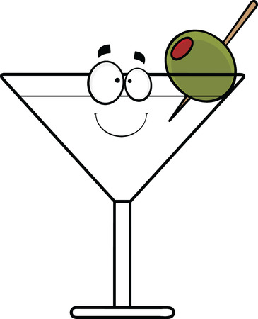 Cartoon illustration of a smiling martini with olive.