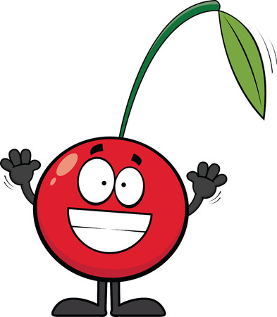 Cartoon illustration of a cherry with a big grin.