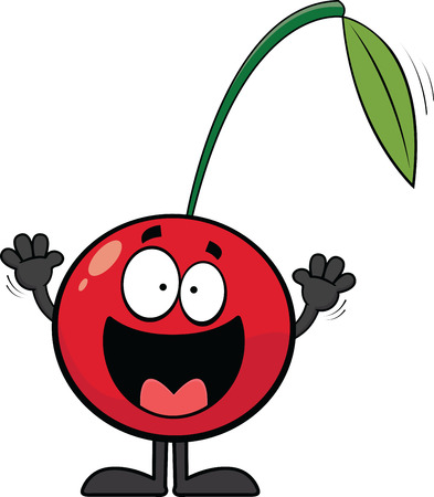 Cartoon illustration of a happy cherry with an open mouth smile.  Illustration