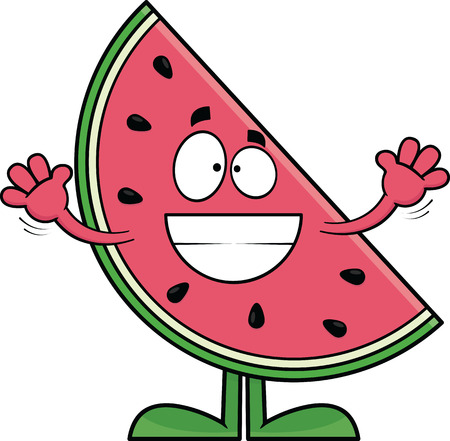 Cartoon illustration of a watermelon slice with a big grin.  Vector