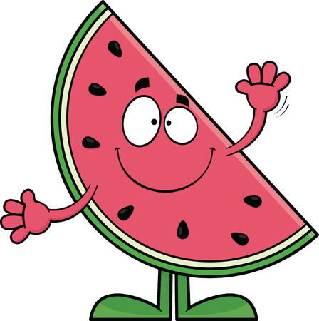 Cartoon illustration of a watermelon slice with a big smile.  Vector