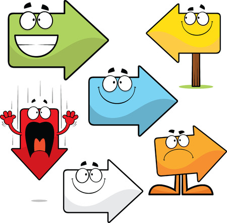 Illustrated set of multi-color cartoon arrows.
