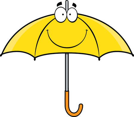 yellow umbrella: Cartoon illustration of a yellow umbrella with a smile.