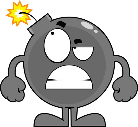 Cartoon illustration of an angry looking bomb character.  Illustration