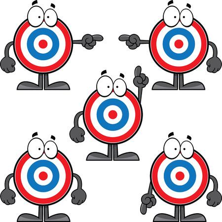 Illustrated set of cartoon bullseye icons.  Illustration
