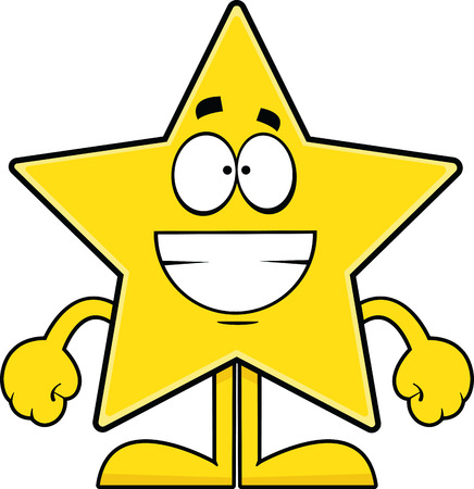 Cartoon illustration of a star with a big grin.