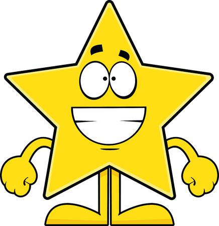 star: Cartoon illustration of a star with a big grin.