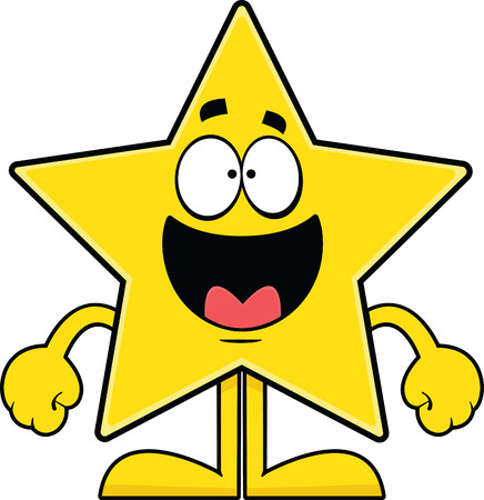 Cartoon illustration of a star with an open mouth smile.  Illusztráció