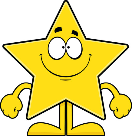 Cartoon illustration of a star with a wide smile.