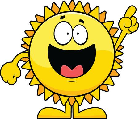 towards: Cartoon illustration of a cartoon sun pointing towards the sky.