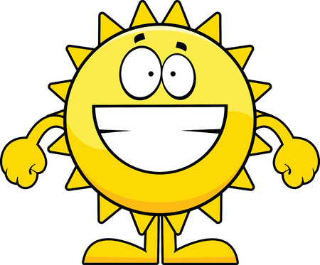 Cartoon illustration of a yellow sun with a big grin.  向量圖像