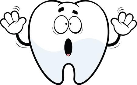 Cartoon illustratie van een bang tand.