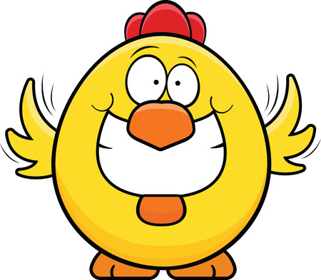 Cartoon illustration of a grinning yellow chicken.  Illustration