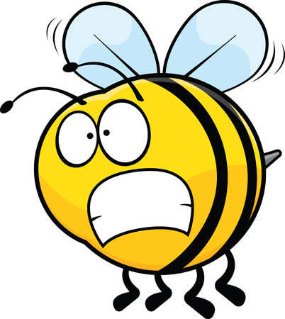Cartoon illustration of a bee with a worried expression.  向量圖像