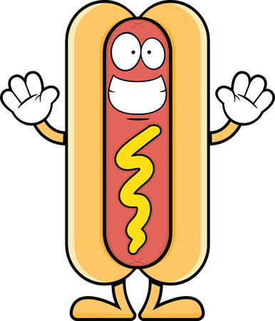 Cartoon illustration of a hot dog with a big grin.  Vector
