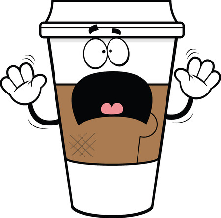 Cartoon illustration of a take-out coffee cup with a scared expression.