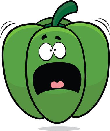 Cartoon illustratie van een bang groene paprika.