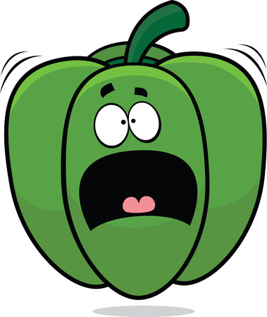 Cartoon illustration of a scared green bell pepper. Фото со стока - 28448286