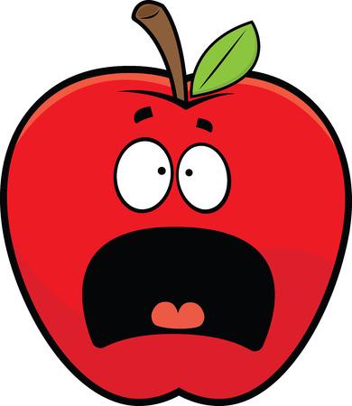 Cartoon illustration of a scared red apple.  向量圖像