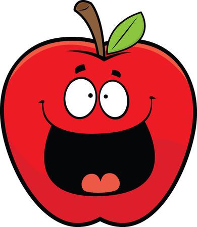 Cartoon illustration of a happy red apple.
