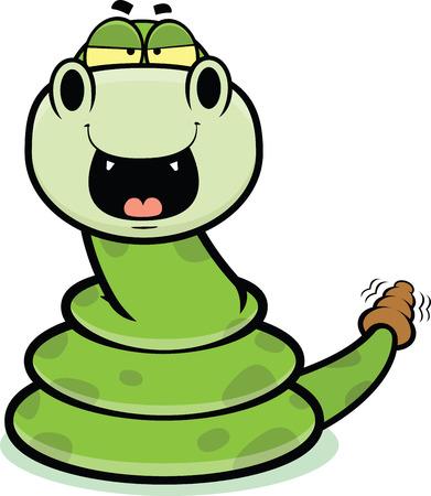 rattle snake: Cartoon illustration of a happy rattle snake   Illustration