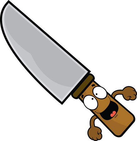 Cartoon illustration of a knife with a happy expression.  Illustration