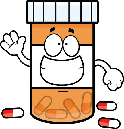 Cartoon illustration of a pill bottle with a big grin