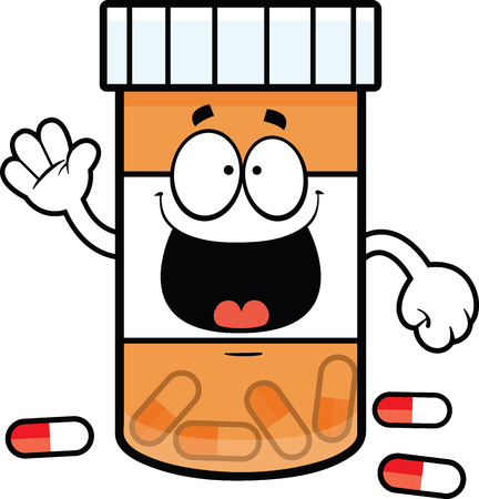 Cartoon illustration of a pill bottle with a big smile   Vector