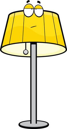 Cartoon illustration of a floor lamp with a bored expression   Ilustração