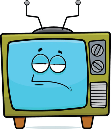 Cartoon illustration of a retro TV set with a tired expression   Çizim