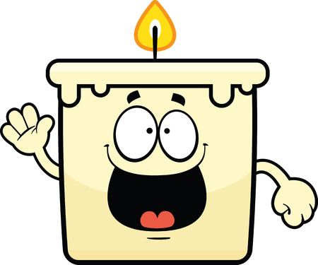 Cartoon illustration of a candle with a happy expression.