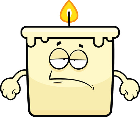 Cartoon illustration of a candle with a tired expression.