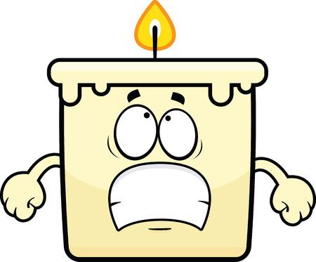 Cartoon illustration of a candle with a worried expression.  Illusztráció
