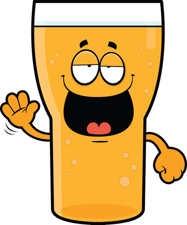 Cartoon illustration of a beer with a drunk expression.