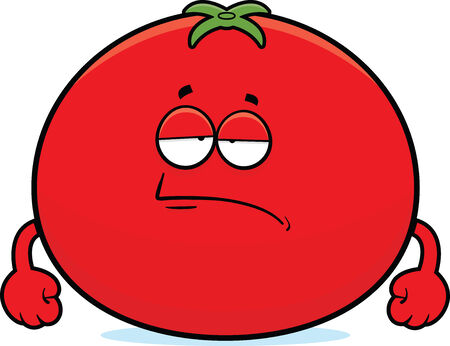 Cartoon illustration of a tomato with a tired expression.