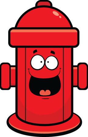 Cartoon illustratie van een brandkraan met een gelukkige uitdrukking.