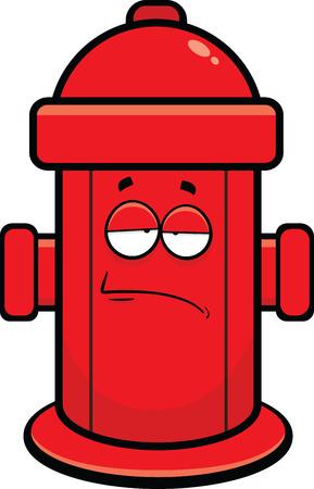 Ilustración de dibujos animados de una boca de incendios con una expresión cansada. Ilustración de vector