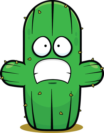 Cartoon illustration of a cactus with a scared expression. 向量圖像
